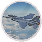 Round Beach Towel featuring the digital art F16 - Fighting Falcon by Pat Speirs