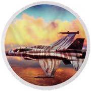 Round Beach Towel featuring the photograph F16c Fighting Falcon by Chris Lord