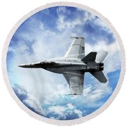 Blue Round Beach Towel featuring the photograph F18 Fighter Jet by Aaron Berg