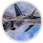 F22 Raptor Round Beach Towel