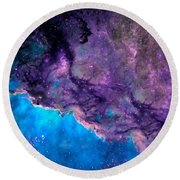 Purple Nebula Round Beach Towel