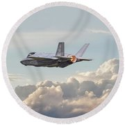 Round Beach Towel featuring the photograph F35 -  Into The Future by Pat Speirs