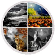 Moonlit Paintings Round Beach Towel