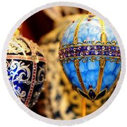 Faberge Holiday Eggs Round Beach Towel