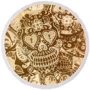 Fabric And Folklore Round Beach Towel