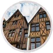 Facades Of Half-timbered Houses In Tours, France Round Beach Towel