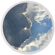 Face In The Sky Round Beach Towel