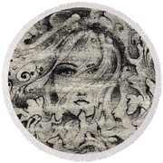 Face In The Storm Round Beach Towel