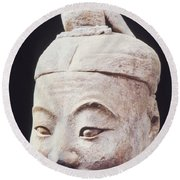 Round Beach Towel featuring the photograph Face Of A Terracotta Warrior by Heiko Koehrer-Wagner