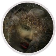Face Of Space Round Beach Towel