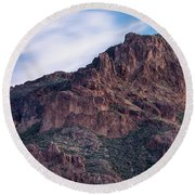 Face Of Superstitions 1 Round Beach Towel by Greg Nyquist