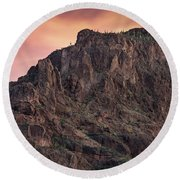 Face Of Superstitions 2 Round Beach Towel by Greg Nyquist