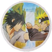 Face-off At The Valley Round Beach Towel