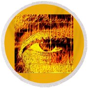 Face The Fire Round Beach Towel by Gina Callaghan