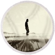 Face The Sun 2 Round Beach Towel