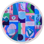 Face-to-face  Round Beach Towel