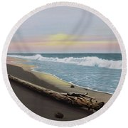 Round Beach Towel featuring the painting Face To The Morning by Kenneth M Kirsch