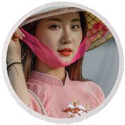 Faces Of Hoian - 04 Round Beach Towel