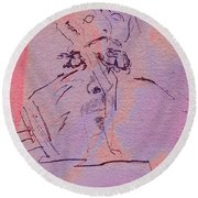 Round Beach Towel featuring the mixed media Faces Of Trivia by Steve Karol