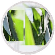 Facets In Green - Round Beach Towel