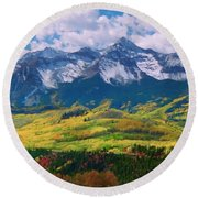 Facinating American Landscape Flowers Greens Snow Mountain Clouded Blue Sky  Round Beach Towel