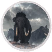 Round Beach Towel featuring the digital art Facing The Mammoths by Daniel Eskridge
