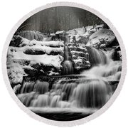 Round Beach Towel featuring the photograph Factory Falls In Winter by Chris Lord