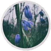 Fade Into The Blue Round Beach Towel by Karen Stahlros
