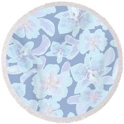 Faded Blue Spotted Orchids Round Beach Towel