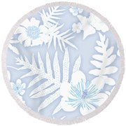Faded Denim Fern Batik Round Beach Towel