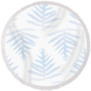 Faded Indigo Fern Array Round Beach Towel