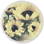 Faded Sunflowers Round Beach Towel