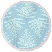 Faded Teal Fern Array Round Beach Towel