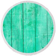 Fading Aqua Paint On Wood Round Beach Towel by John Williams