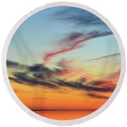 Fading Pink Reflection  Round Beach Towel