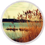 Fading Plumes Round Beach Towel