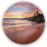 Fading Sunset Waves At Sand Harbor Round Beach Towel