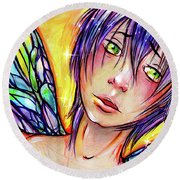 Faery Boy Round Beach Towel by Nada Meeks