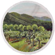 Fainting Goat Valley - Vineyards -  Jasper, Ga Round Beach Towel by Jan Dappen