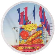Round Beach Towel featuring the photograph Fair Food by Cindy Garber Iverson