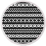 Fair Isle Black And White Round Beach Towel