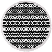 Fair Isle Black And White Round Beach Towel by Rachel Follett