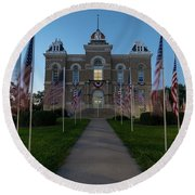 Fairbury Nebraska Avenue Of Flags - September 11 2016 Round Beach Towel