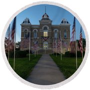 Fairbury Nebraska Avenue Of Flags - September 11 2016 Round Beach Towel