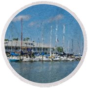 Fairhope Yacht Club Impression Round Beach Towel