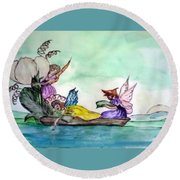 Fairies At Sea Round Beach Towel