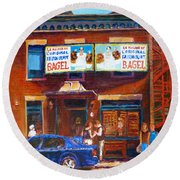 Round Beach Towel featuring the painting Fairmount Bagel With Blue Car  by Carole Spandau