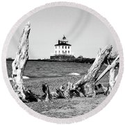Fairport Harbor Lighthouse Round Beach Towel