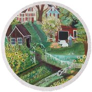 Round Beach Towel featuring the painting Fairview Farm by Virginia Coyle