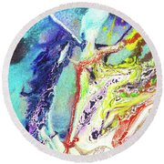 Fairy Art - Colorful Abstract Fantasy Painting Round Beach Towel